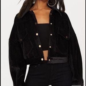 Black cropped cord oversized trucker jacket